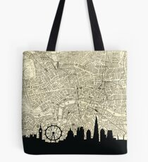 London Skyline over Vintage map Tote Bag