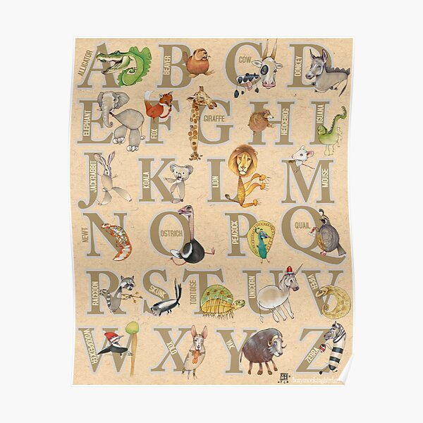 ABC Animals (with names) Poster