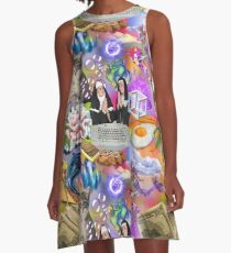 Sisters Paris & Nicole, Money, Fame, Power, a Dolphin, a Mermaid and a Cat A-Line Dress