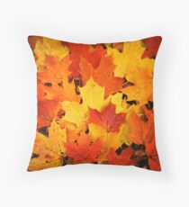 Pile of Colorful Maple Leaves Throw Pillow