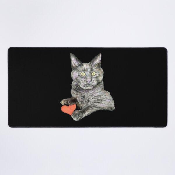 Grey Cat Oliver  Desk Mat