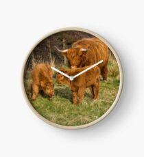 Highland Cow Family Clock