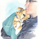 dog wrapped in a blue towel watercolor by Mike Theuer