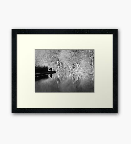 Canal Reflection Black and White Framed Print