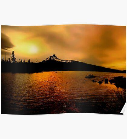 Amber Glow At Big Lake Poster