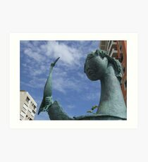 Girl with Tucan statue in Peurto Rico Art Print
