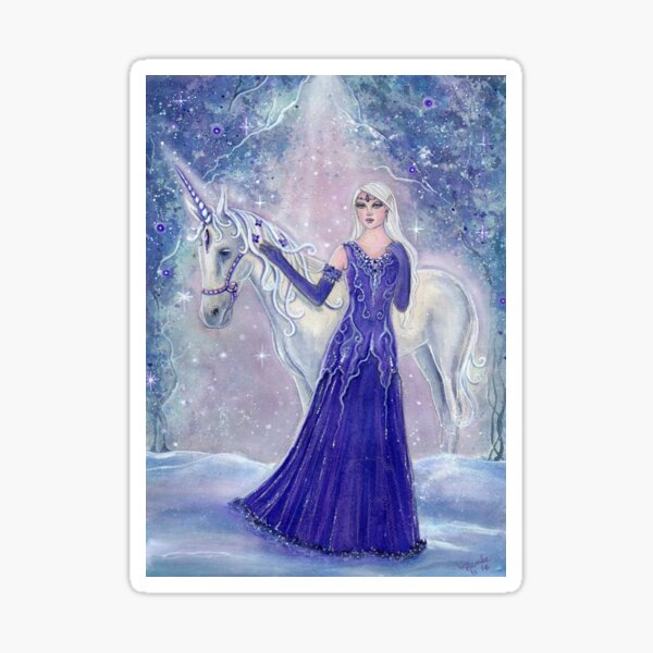 Whisper and winter flower elf and unicorn by Renee Lavoie Sticker