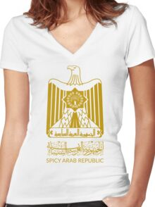 Spicy Arab Republic - Coat of Arms Women's Fitted V-Neck T-Shirt