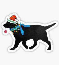 Black Lab Naughty Christmas Dog Sticker