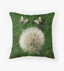 DANDILION PILLOW WITH DANDILION BUTTERFLIES MADE FROM THE DANDILION...PILLOW AND OR TOTE BAG Throw Pillow