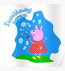 Funny pink pig Poster