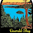 LAKE TAHOE EMERALD BAY CALIFORNIA MOUNTAINS SKIING BOATING VINTAGE STYLE TRAVEL DECAL by MyHandmadeSigns