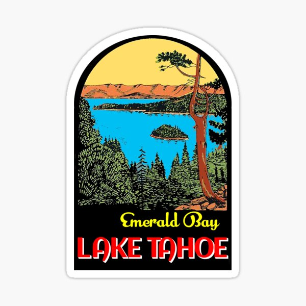 LAKE TAHOE EMERALD BAY CALIFORNIA MOUNTAINS SKIING BOATING VINTAGE STYLE TRAVEL DECAL Sticker