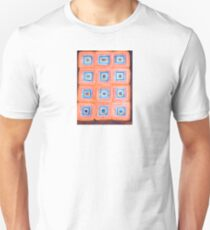 Twelve Red and Blue Melted Together Squares  T-Shirt