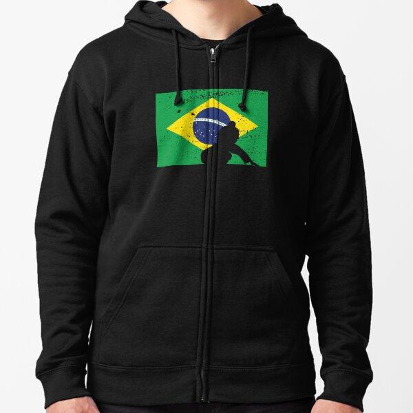 Brazil White Lion Symbol Crest Brazilian Country From Two Tone Hoodie Sweatshirt