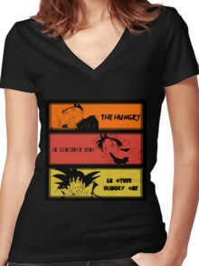 Hungry teammates!Naruto, One Piece, Dragon Ball Women's Fitted V-Neck T-Shirt