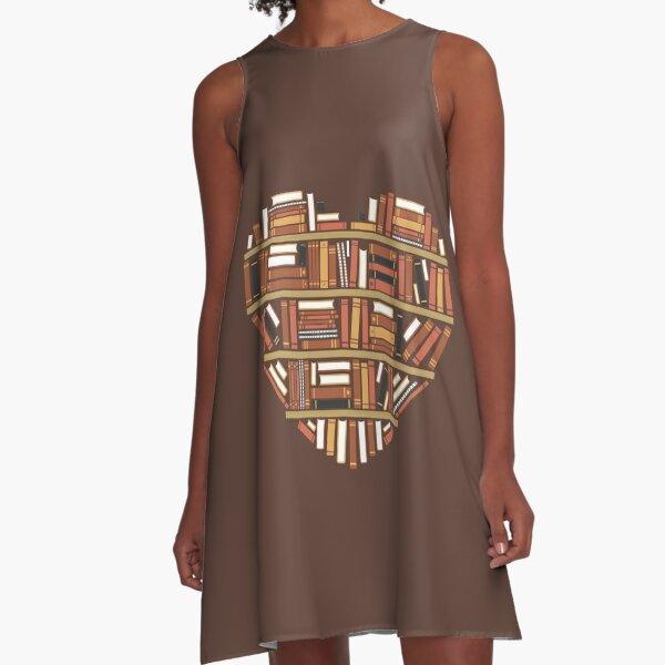 Ich Herz Bücher A-Linien Kleid