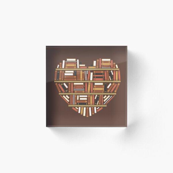 I Heart Books Acrylic Block