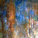 Gold Tree Sky Blue Oil Painting by Fred Seghetti