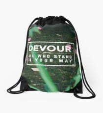 Devour All Who Stand In Your Way (Flowers) Drawstring Bag