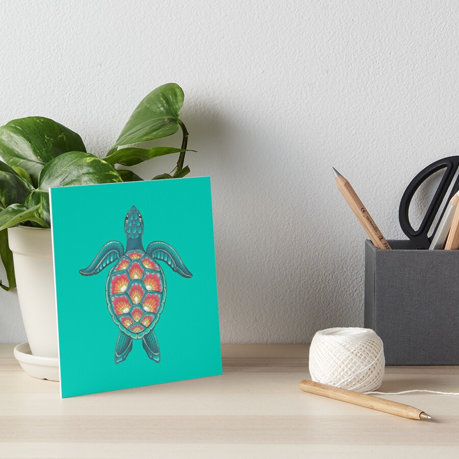 Mandala Turtle Art Board Print