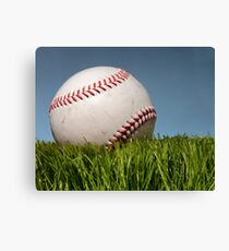 Baseball on grass. Canvas Print