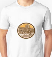 Horse-Drawn Carriage Intramuros Woodcut Retro T-Shirt