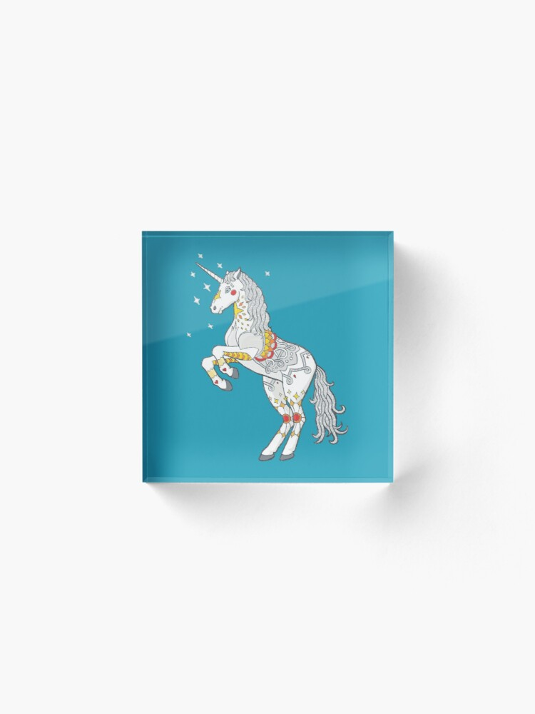 Alternate view of Mandala Unicorn Acrylic Block