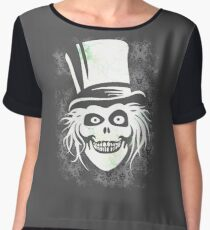 HATBOX GHOST WITH GRUNGY HAUNTED MANSION WALLPAPER Women's Chiffon Top