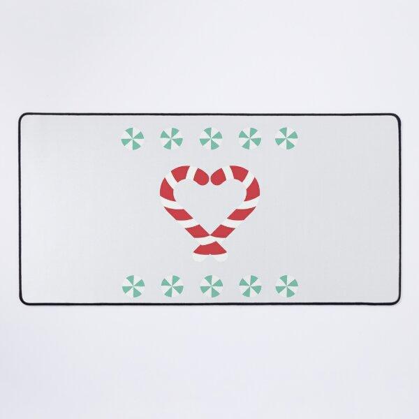 Candy Cane Heart Pattern Desk Mat