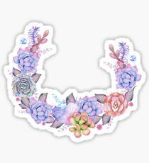 Boho Watercolor Succulents Wreath Sticker
