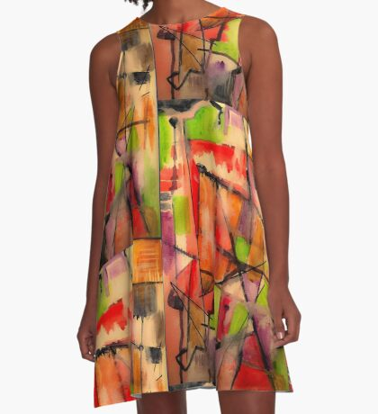 Lines and Color: Abstract Studio A-Line Dress