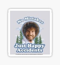 "Bob Ross ""Happy little mistakes"" Sticker  Sticker"
