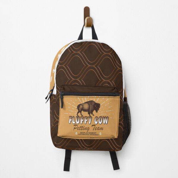 Fluffy Cow Petting Team - American Bison Buffalo in Brown Backpack