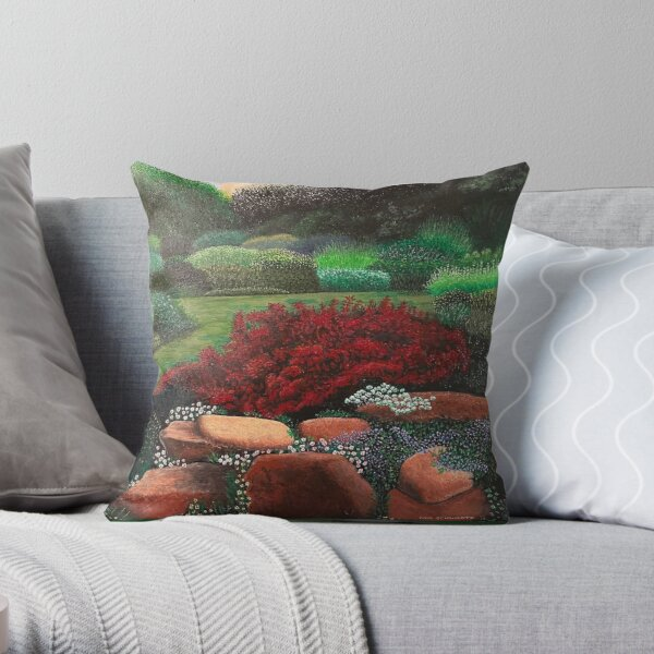 PAINTING, ORIGINAL, ART, LANDSCAPE, DREAMSCAPE, SCENERY, NATURE, COUNTRYSIDE, FLOWERS,  Throw Pillow