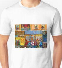 CUPCAKE BAKERY RUE NOTRE DAME MONTREAL ITSY BITSY BOULANGERIE HOCKEY SCENE ART T-Shirt