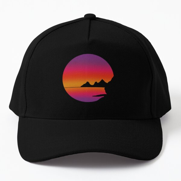 Sunrise on water with mountains in the background Baseball Cap