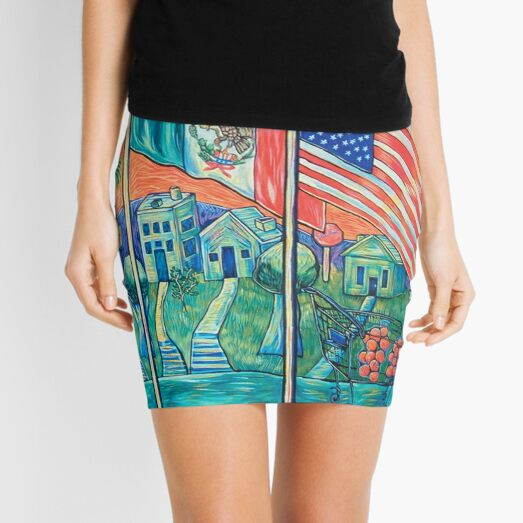 Mexican American City Scape Painting by Antonio Rael Mini Skirt