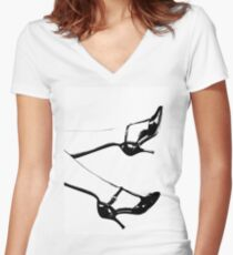 Legs Women's Fitted V-Neck T-Shirt