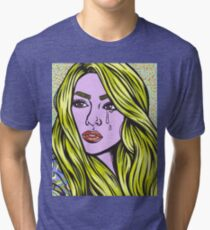 Pop Art Blonde Crying Comic Girl Tri-blend T-Shirt