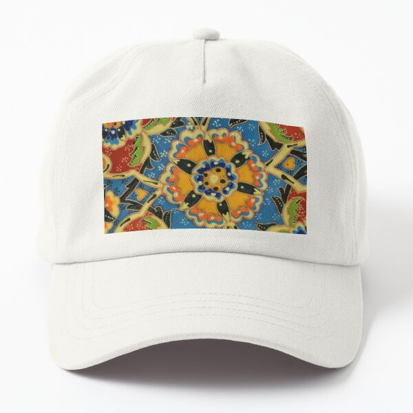 Abstract Vibrant Oriental Japanese Floral Mosaic Pattern. Colorful Geometrical Flowers Dad Hat