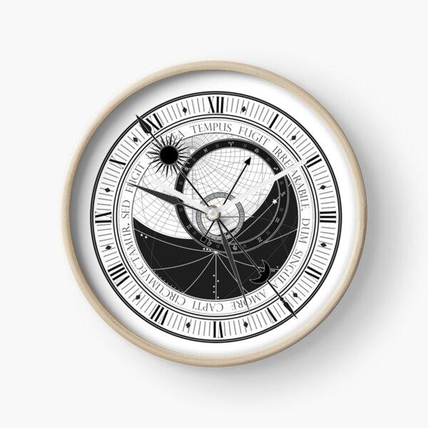Trippy Vintage Retro Astrology Clock Black and White Design Clock