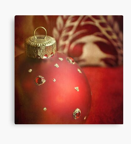 Red and gold Christmas bauble Canvas Print
