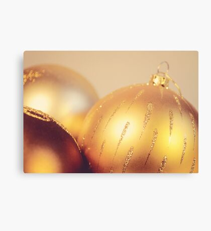 Gold Christmas baubles Canvas Print