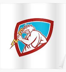 Zeus Wielding Thunderbolt Shield Retro Poster