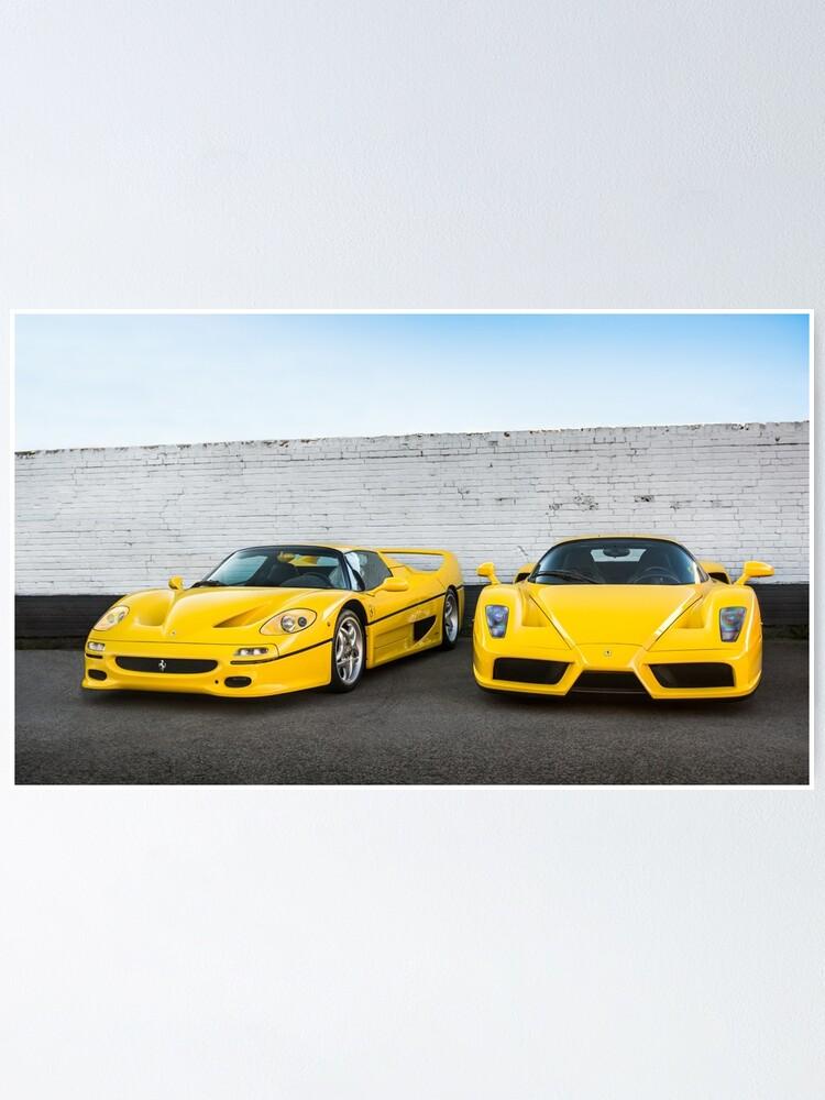 Gelber Ferrari F50 Amp Enzo Poster Von Ricoliu Redbubble