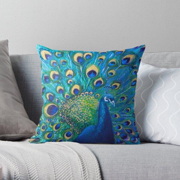 Full Glory Peacock Throw Pillow