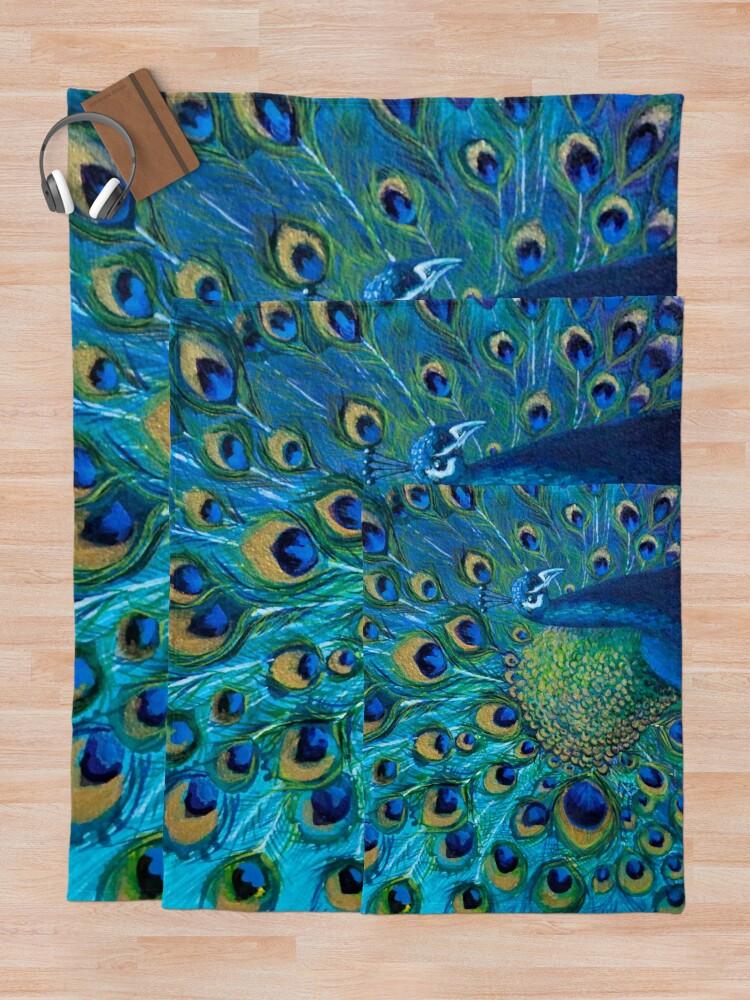 Alternate view of Full Glory Peacock Throw Blanket