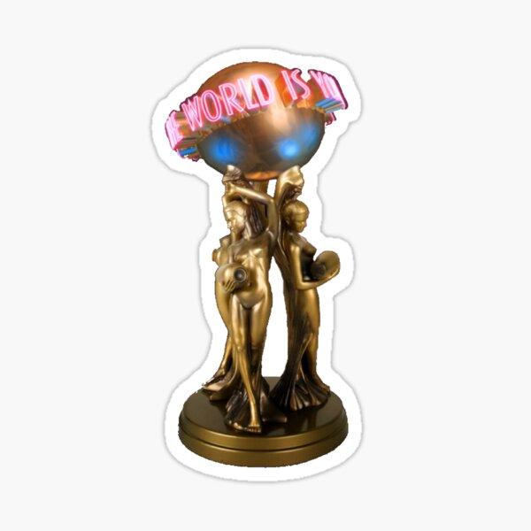 """¡un globo completo de Scarface """"el mundo es tuyo"""" que todos pueden apreciar! Pegatina"""