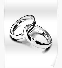 Wedding Bands. Just Married. Newlyweds. New Wife. New Bride. New Groom. New Husband. Wedding Rings. Poster